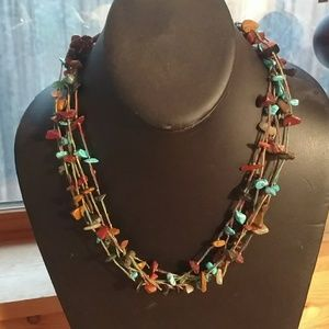 Six strand hand tied native necklace